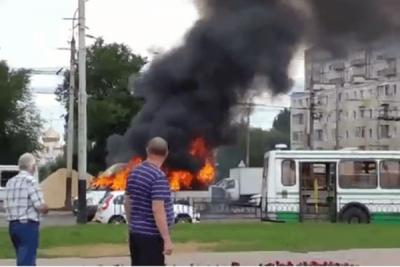 В Тамбове загорелась маршрутка: пассажиры едва успели выйти