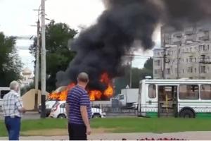 ВТамбове загорелась маршрутка: пассажиры едва успели выйти